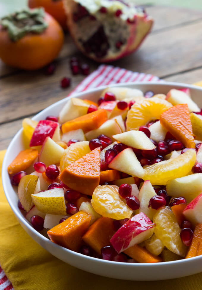 Winter Fruit Salad with Honey Lemon Syrup - healthy, festive and vibrant winter fruit salad with simple 2 ingredient honey syrup | littlebroken.com @littlebroken