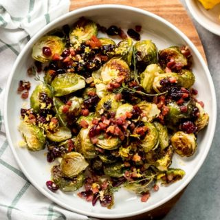 overhead roasted brussel sprouts with cranberries