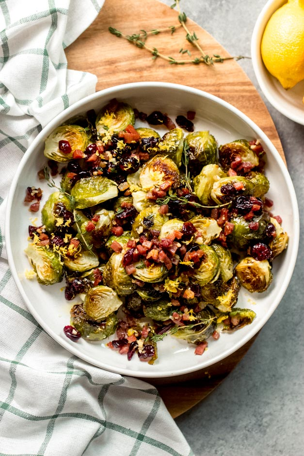 Roasted Brussels Sprouts With Cranberries And Prosciutto Little Broken