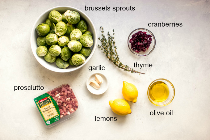 ingredients for roasted brussels sprouts with prosciutto