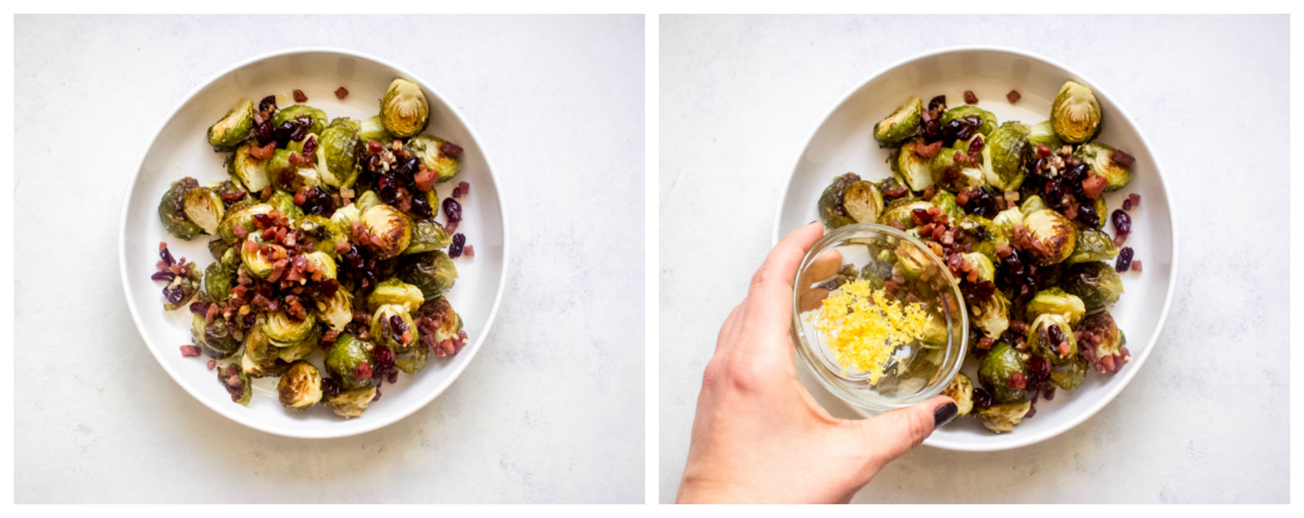 roasted brussel sprouts topped with lemon zest