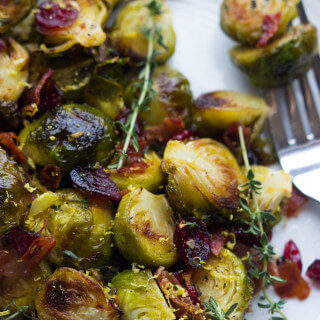 Roasted Lemon Brussels Sprouts with Cranberries and Prosciutto - easy and festive side dish for your holiday table!
