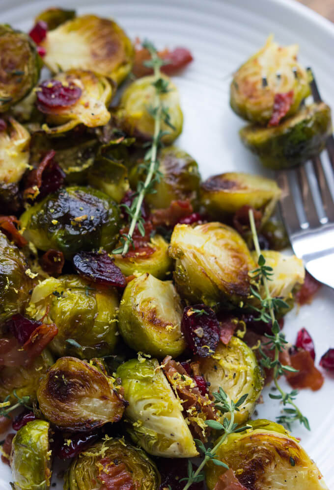 Roasted Lemon Brussels Sprouts with Cranberries and Prosciutto - easy ...