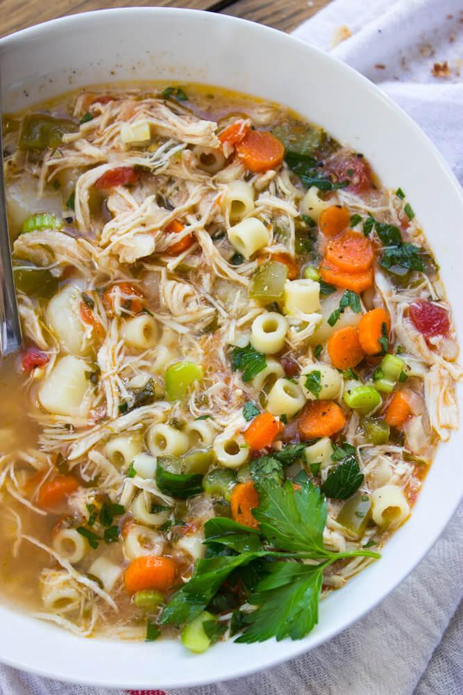 Sicilian Chicken Soup - All from scratch with tender chunks of veggies, ditalini pasta, and shredded chicken. Copy cat of Carrabba's chicken soup | littlebroken.com @littlebroken