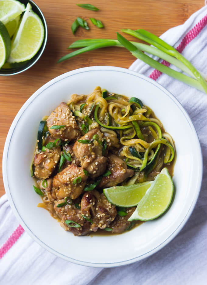 20-Minute Honey Lime Chicken Zucchini Noodles - one pot meal with tender chunks of chicken and healthy zucchini noodles in super yummy honey-lime sauce. Easiest dinner you will ever make! | littlebroken.com @littlebroken