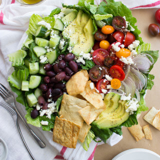 Greek Salad with Avocado and Pita Chips