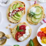 Hummus Naan Toast 3 Ways - give your morning toast with makeover with this easy naan bread. Easy, simple, and veggie loaded toppings! | littlebroken.com @littlebroken