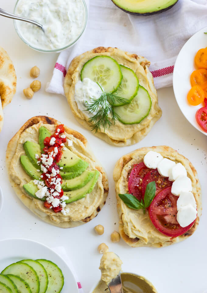 Hummus Naan Toast 3 Ways - give your morning toast a makeover with this easy naan bread. Simple, fresh and veggie loaded toppings will surely keep you full and healthy! | littlebroken.com @littlebroken
