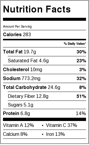 Veggie Loaded 7-Layer Dip Nutrition Label | littlebroken.com @littlebroken.com