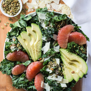 Kale, Avocado, and Grapefruit Salad with Dijon Grapefruit Vinaigrette