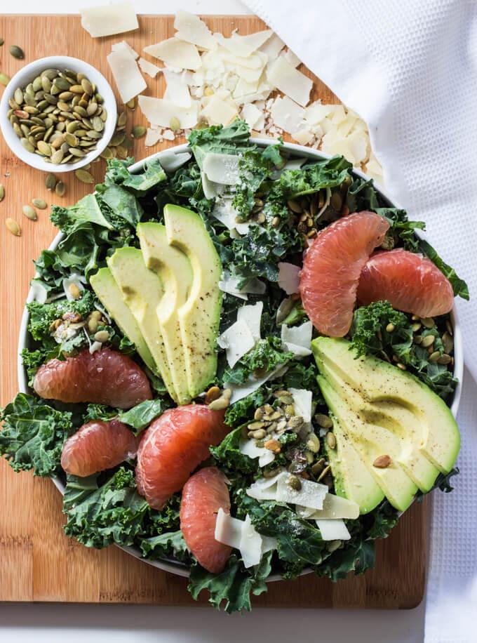 Kale, Avocado, and Grapefruit Salad with Dijon Grapefruit Vinaigrette - simple salad with ton of flavor and texture | littlebroken.com @littlebroken