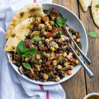 Mediterranean Bean Salad with Mushrooms