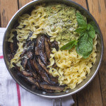 Portabella Mushroom Noodles with Almond Pesto