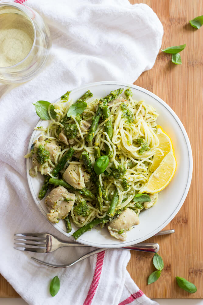 Lemon Basil Angel Hair Pasta With Chicken And Asparagus Little Broken