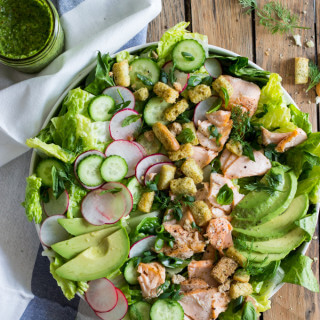 Salmon, Avocado, and Cucumber Salad with Cilantro Dressing