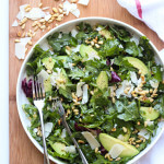 Parmesan Arugula Kale Salad with Pine Nuts