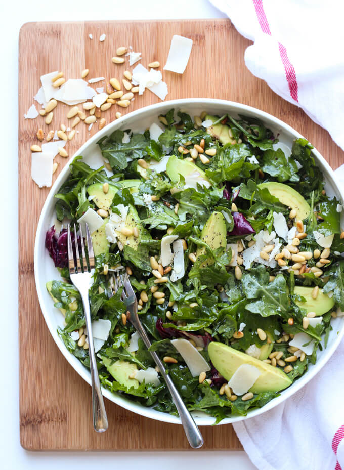 Parmesan Arugula Kale Salad with Pine Nuts | Little Broken