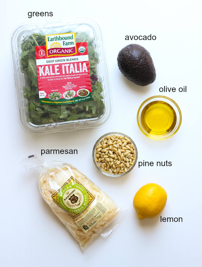 ingredients for kale arugula salad