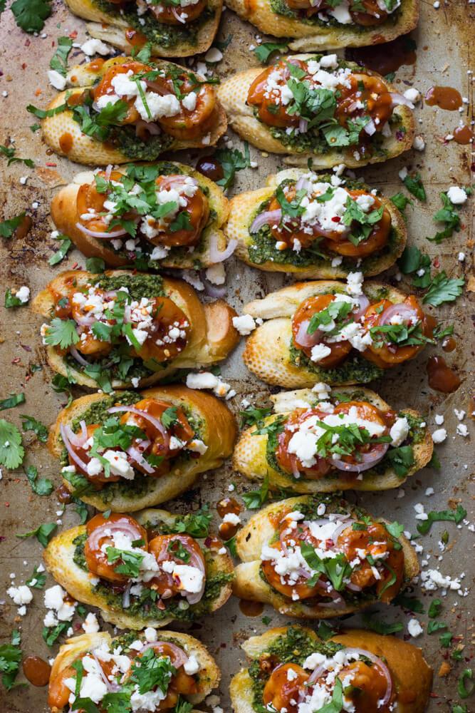 BBQ Shrimp Crostini with Basil Pesto and Feta - the best crostini ever and so simple to make!   littlebroken.com @littlebroken