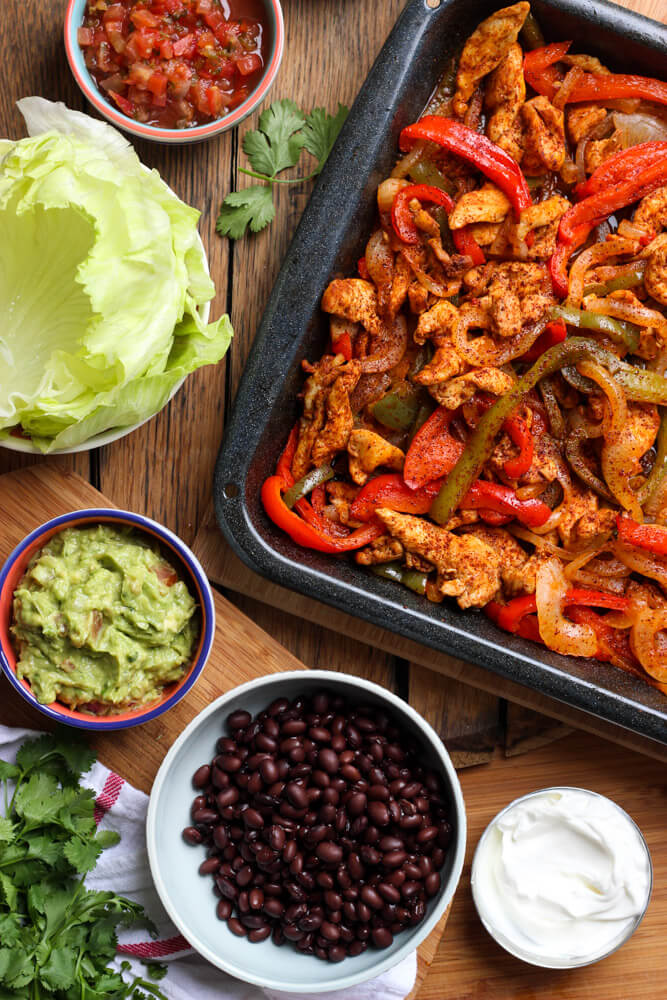 Chicken fajitas lettuce wraps oven baked little broken with one little trick and you have the most juiciest oven baked chicken fajitas served forumfinder Choice Image