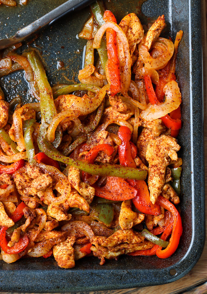 Chicken fajitas lettuce wraps oven baked little broken with one little trick and you have the most juiciest oven baked chicken fajitas served forumfinder Gallery