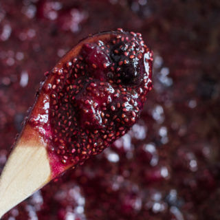 No-Can Strawberry-Blueberry Honey Jam with Chia Seeds - sweetened with honey, loaded with chia seeds, and requires no canning! Easiest jam you will ever make | littlebroken.com @littlebroken