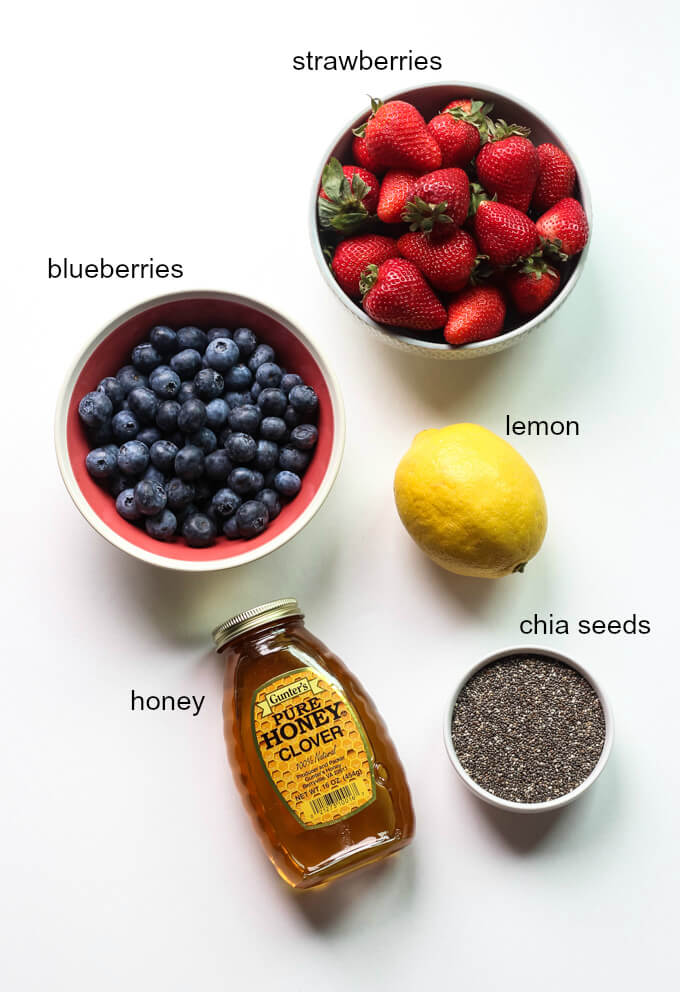 No-Can Strawberry-Blueberry Honey Jam with Chia Seeds - sweetened with honey, loaded with chia seeds, and requires no canning! Easiest jam you will ever make   littlebroken.com @littlebroken
