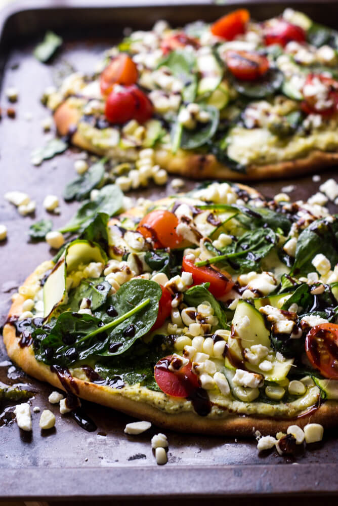 Balsamic Zucchini and Fresh Corn Flatbread with Pesto Ricotta - summer loaded veggie flatbread with pesto ricotta and balsamic glaze | littlebroken.com @littlebroken