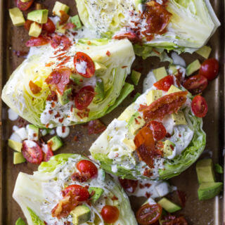 California Wedge Salad with Prosciutto Crumbles and Buttermilk Ranch Dressing