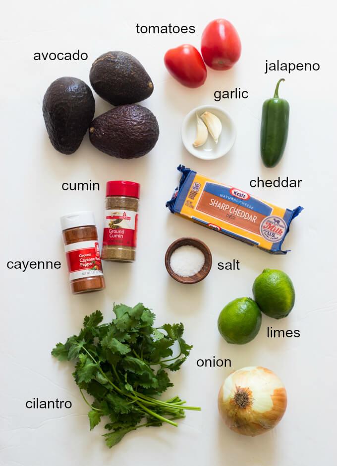 Cheesy Guacamole - traditional guacamole but with cheese!   littlebroken.com @littlebroken