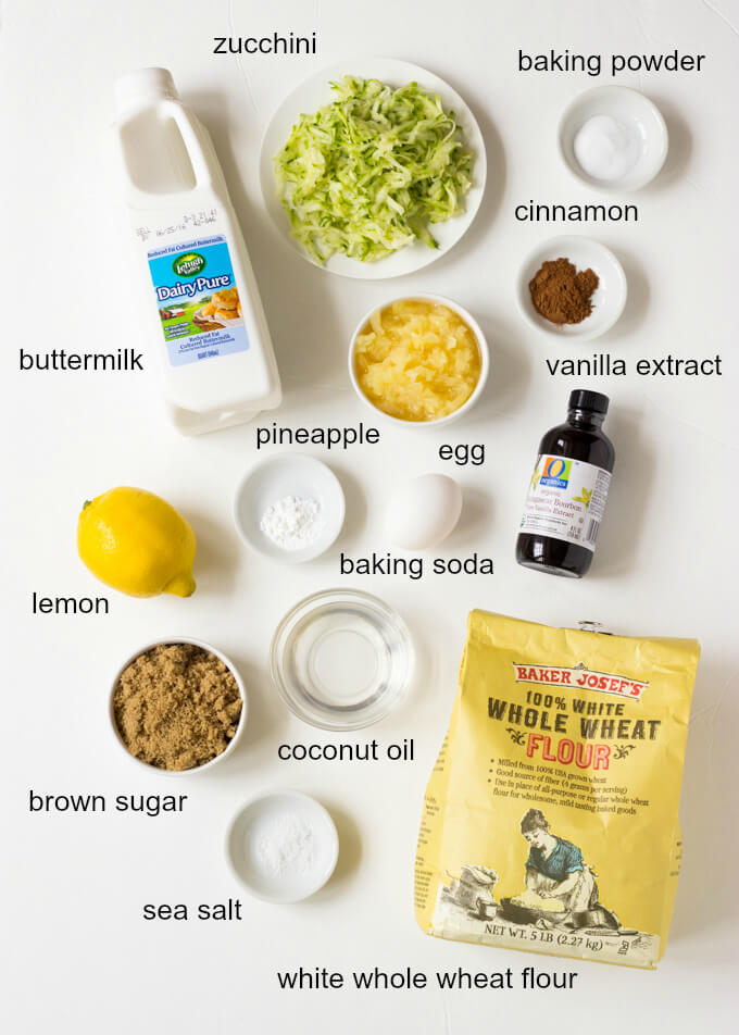 Healthy Zucchini Bread - no white sugar or white flour. Made with coconut oil and sweetened with crushed pineapple. | littlebroken.com @littlebroken