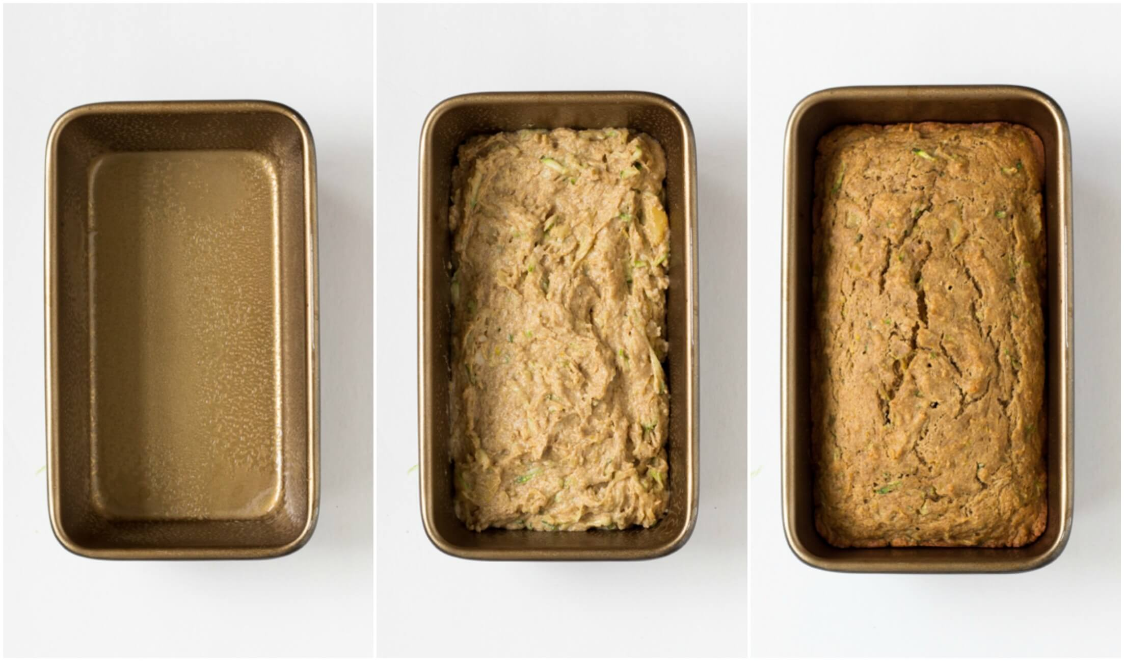 baked zucchini bread with crushed pineapple in loaf pan
