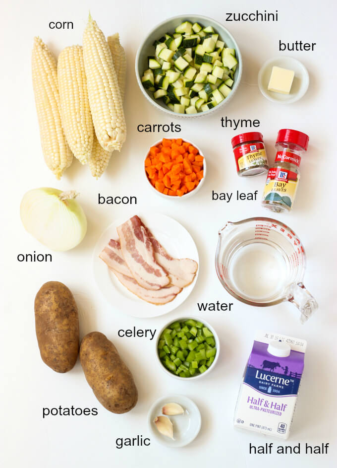 ingredients for summer corn chowder