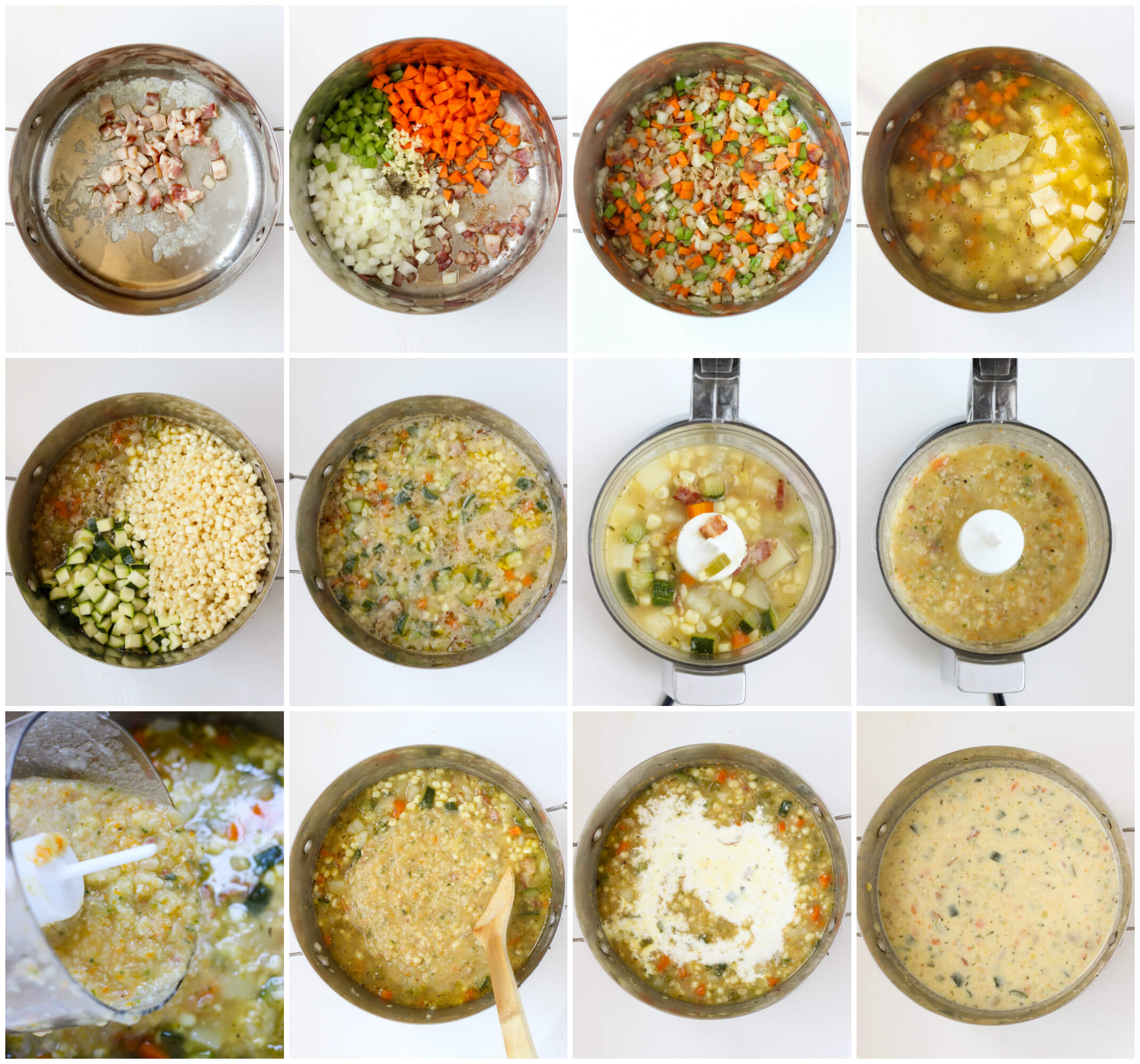 step by step instructions on how to make summer corn chowder recipe