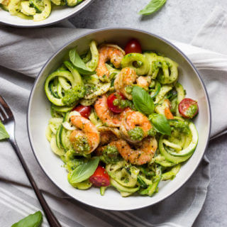 Cajun Shrimp with Pesto Zoodles - easy, light, nutritious, and flavorful summer meal | littlebroken.com @littlebroken