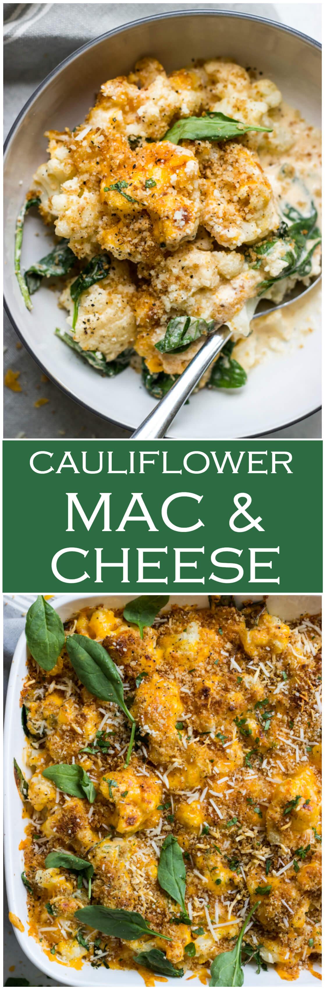 Cauliflower and Spinach Bake (Mac and Cheese) - whether you're trying to sneak more vegetables into your day or cutting down on carbs, this delicious side is the way to go!
