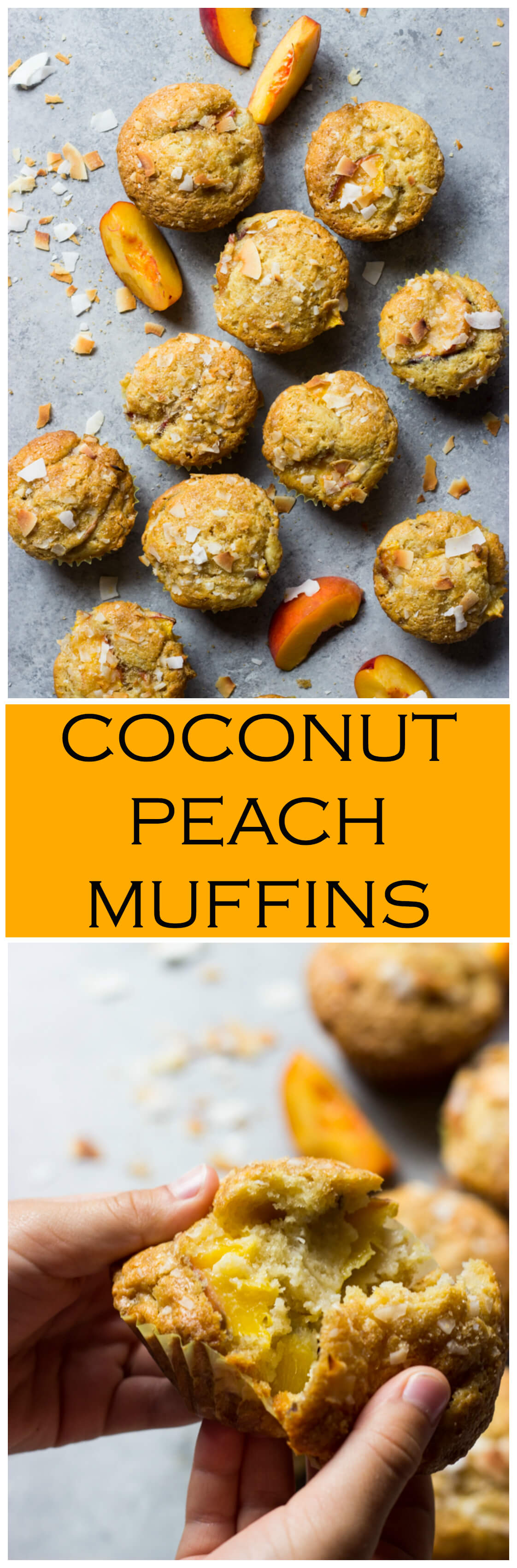 Coconut Peach Muffins - made with coconut oil and fresh peaches. These are by far the BEST muffins! | littlebroken.com @littlebroken