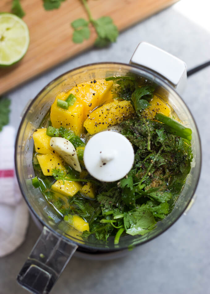 Mango Cilantro Dressing - vibrant, tangy, and little spicy salad dressing that is so good over spicy anything! | littlebroken.com @littlebroken