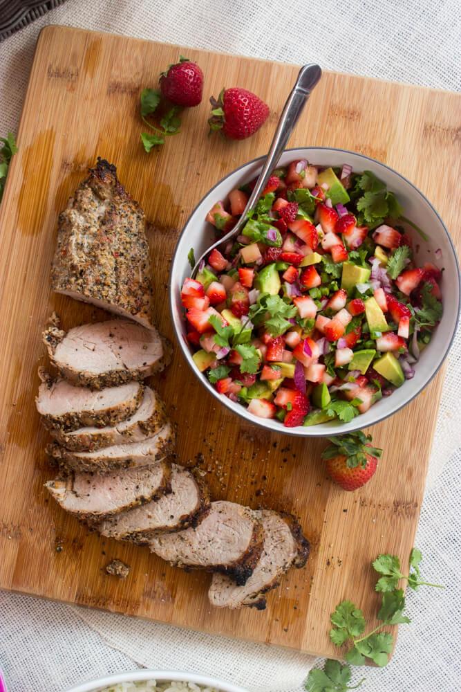Peppercorn Garlic Pork Tenderloin with Strawberry Avocado Salsa   littlebroken.com @littlebroken