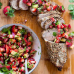 Peppercorn Garlic Pork Tenderloin with Strawberry Avocado Salsa