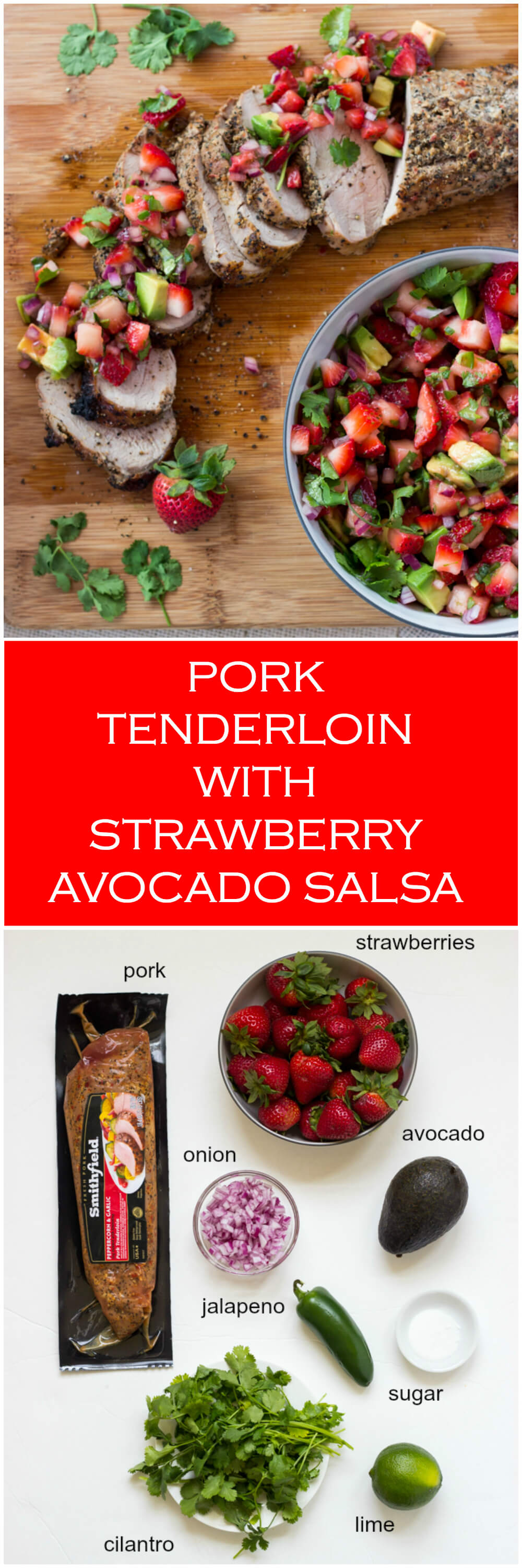 Peppercorn Garlic Pork Tenderloin with Strawberry Avocado Salsa | littlebroken.com @littlebroken