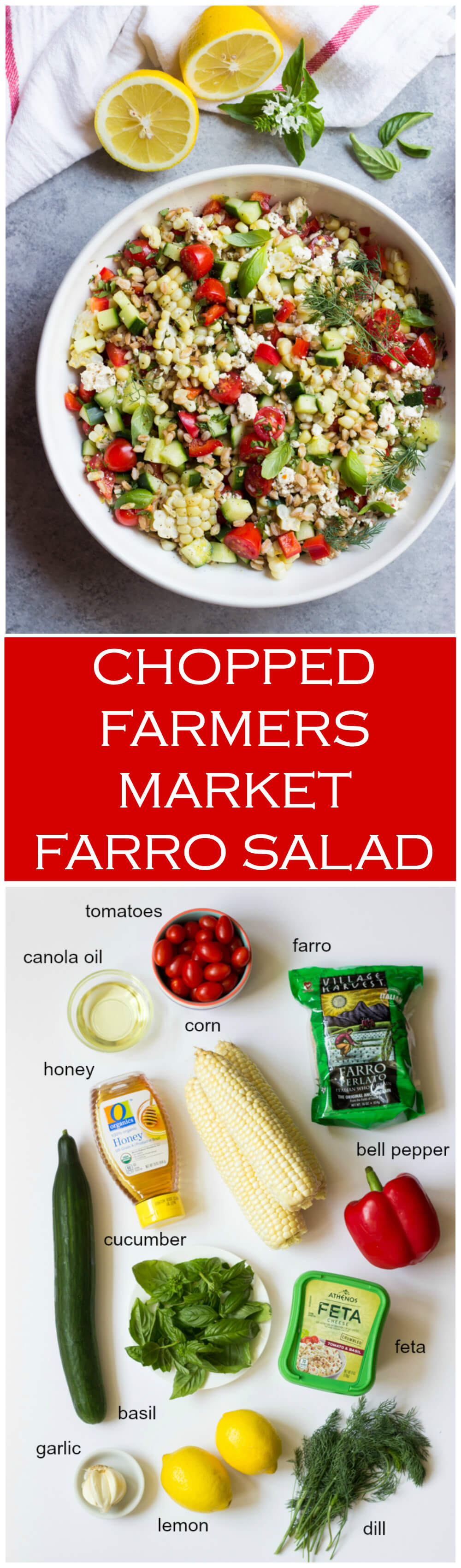Chopped Farmers Market Farro Salad - loaded with good for you vegetables + hearty farro, and then tossed in the most flavorful honey lemon vinaigrette. Plus only at 156 calories! | littlebroken.com @littlebroken