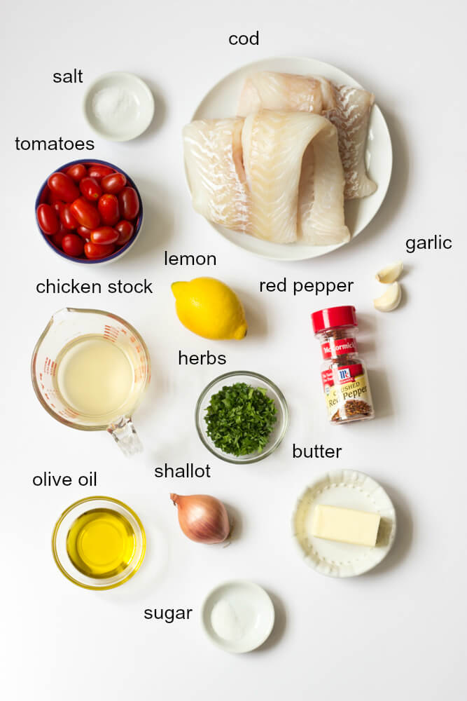 ingredients for baked cod in herb butter