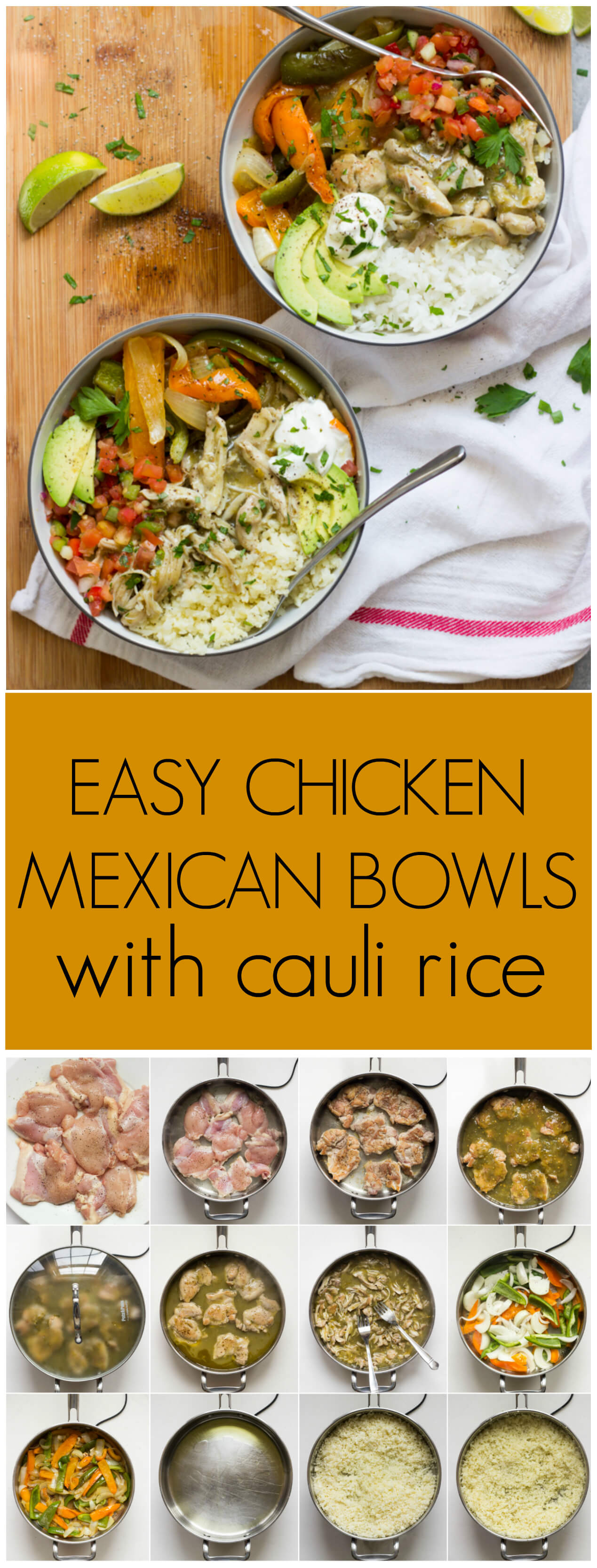 Easy chicken mexican bowls 2 ways easy chicken mexican bowls 2 ways easy skillet shredded chicken served over forumfinder Choice Image