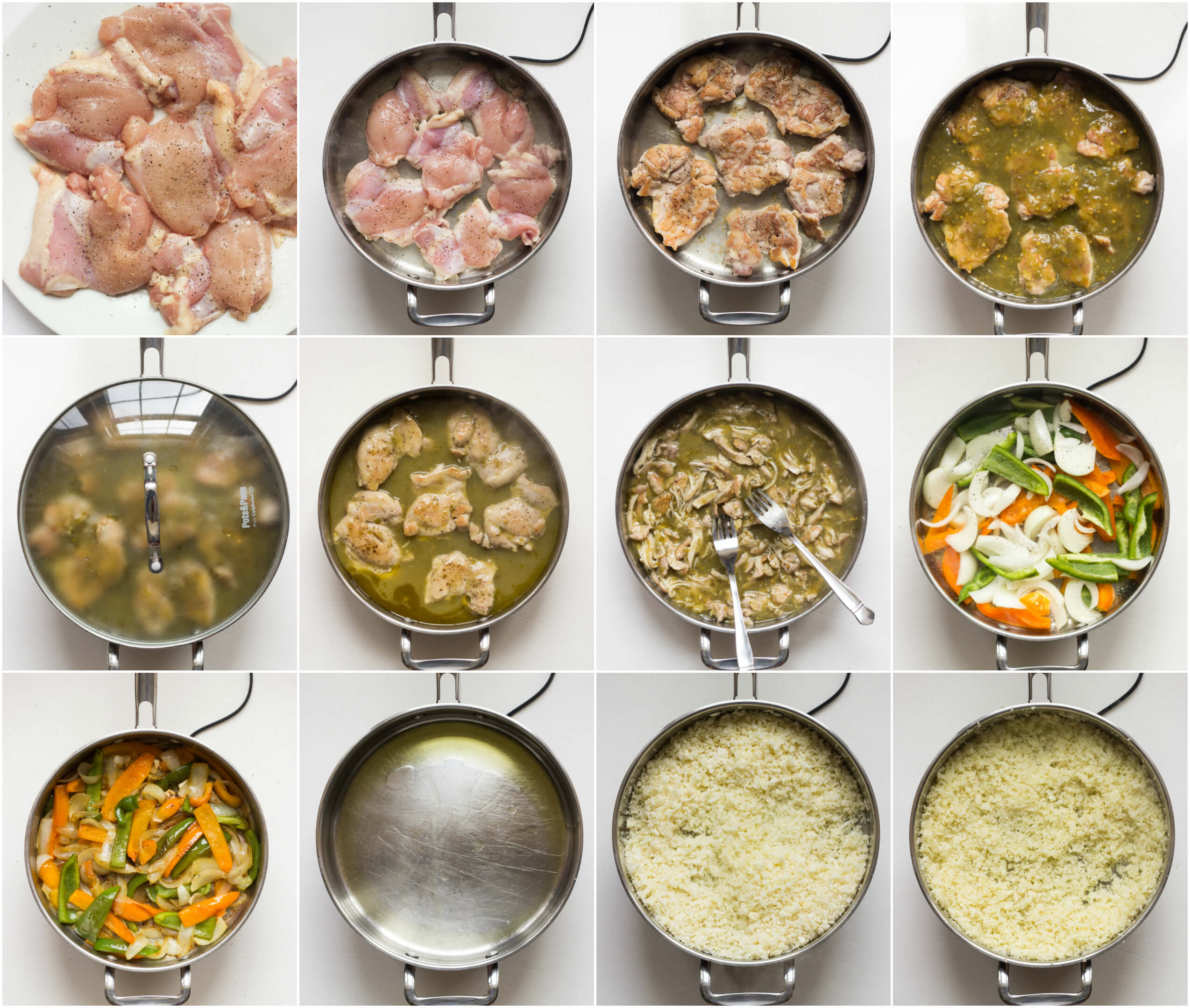 Easy Chicken Mexican Bowls (2 Ways!) - easy skillet shredded chicken served over cauliflower rice or white rice. Choice is yours.   littlebroken.com @littlebroken