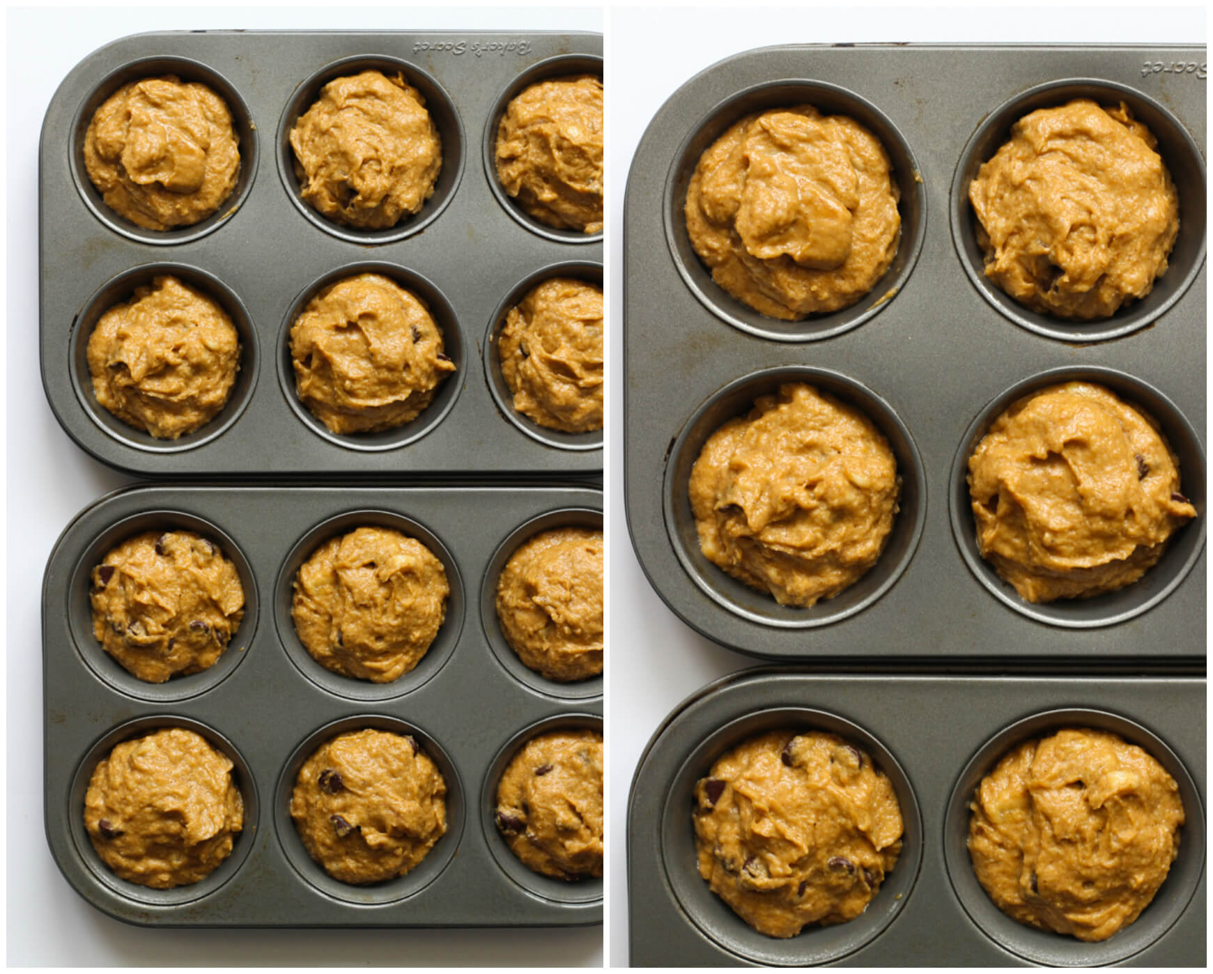 Healthy Chocolate Chip Pumpkin Muffins | Little Broken