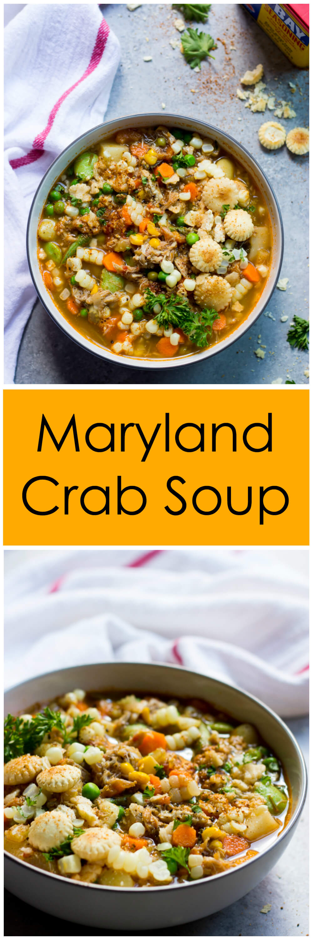 Maryland Crab Soup - hearty farmers market vegetables, lumps of crab meat, and spicy Old Bay seasoning | littlebroken.com @littlebroken