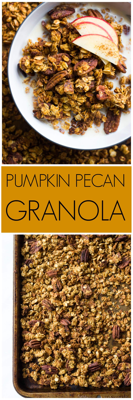 Pumpkin Pecan Granola - crunchy, lightly sweetened, and flavored with pumpkin! | littlebroken.com @littlebroken
