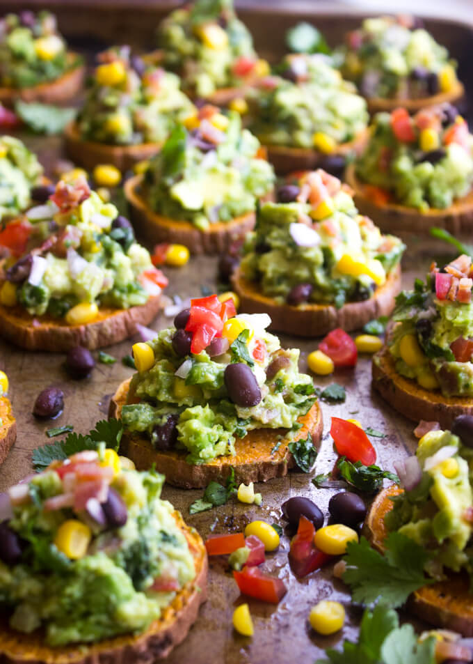 Sweet Potato Bites with Spicy Guacamole - colorful, nutritious, and ...