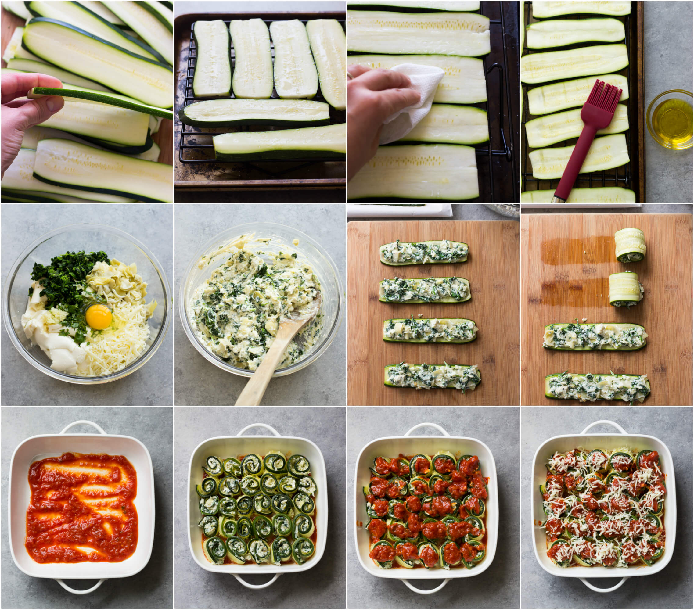Zucchini Lasagna Roll Ups with Spinach and Artichokes - low carb, gluten free, and kid friendly! | littlebroken.com @littlebroken